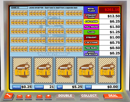 bingo cafe jacks or better video poker online casino game