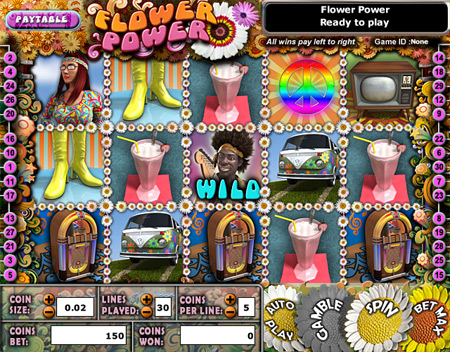 bingo cafe flower power 5 reel online slots game