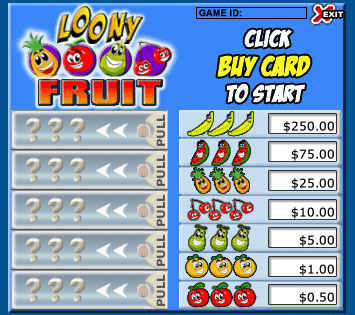 bingo cafe loony fruits pull tabs online instant win game