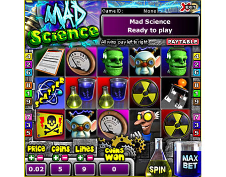 bingo cafe mad scientist 5 reel online slots game